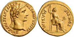 4  -  OCTAVIAN AS AUGUSTUS. Aureus.AV 7.56 g. CAESAR AVGVSTVS – DIVI F PATER.  PATRIAE Laureate head r. Rev. PONTIF – MAXIM Pax-Livia figure seated r., holding vertical sceptre and branch.A bold portrait struck on a very broad flan. Good extremely fine