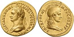 40  -  DOMITIAN AUGUSTUS. Aureus. AV 7.77 g. IMP CAES DOMI – TIANVS AVG GERMANIC Laureate and draped bust l. Rev. P M TR POT III – IMP V COS X P P Helmeted and draped bust of Minerva r. Very rare and in exceptional condition for the issue, possibly the finest specimen in private hands. Two portraits of enchanting beauty, the work of a talented master engraver. Struck on a very broad flan, two minor edge marks, otherwise good extremely fine.