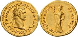 41  -  DOMITIAN AUGUSTUS. Aureus. AV 7.69 g. IMP CAES DOMIT AVG GERM P M TR P VI Laureate head r. Rev. IMP XIIII COS XII CENS P P P Minerva standing l., holding spear in r. hand. Very rare. A lovely portrait perfectly centred on a very large flan. Light reddish tone and extremely fine.