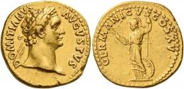 42  -  DOMITIAN AUGUSTUS. Aureus.  AV 7.52 g. DOMITIANVS – AVGVSTVS Laureate head r. Rev. GERMANICVS COS XV Minerva, helmeted and draped, standing l., holding thunderbolt and spear; at her l. side, shield. Good very fine / very fine.
