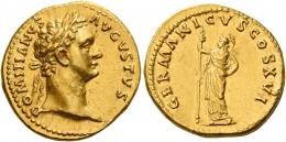 43  -  DOMITIAN AUGUSTUS. Aureus.  AV 7.55 g. DOMITIANVS – AVGVSTVS Laureate head r. Rev. GERMANICVS COS XVI Minerva standing l., holding spear in r. hand. Rare. Struck in high relief and good extremely fine.