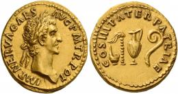 44  -  NERVA AUGUSTUS. Aureus. AV 7.56 g. IMP NERVA CAES – AVG P M TR POT Laureate head r. Rev. COS III PATER PATRIAE Simpulum, sprinkler, jug and lituus. Rare and among the finest specimens in private hands of this extremely difficult issue. A very realistic portrait of excellent style, well-struck in high relief and centred on a very large flan. Virtually as struck and almost Fdc.