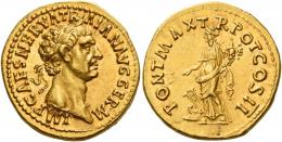 45  -  TRAJAN AUGUSTUS. Aureus.  AV 7.47 g. IMP CAES NERVA TR–AIAN AVG GERM Laureate head r. Rev. PONT MAX T – R POT COS II Fortuna standing l., holding rudder set on prow and cornucopia. A very interesting early portrait of Trajan perfectly struck and centred on a large flan. Virtually as struck and almost Fdc.