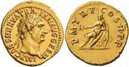 46  -  TRAJAN AUGUSTUS. Aureus. AV 7.47 g. IMP CAES NERVA TRA – IAN AVG GERM Laureate head r. Rev. P M TR P COS II P P Germania seated l. on oblong shields, holding branch in r. hand and resting l. arm on shields. Below, between shields, helmet. Struck on a very broad flan, several minor marks, otherwise extremely fine.