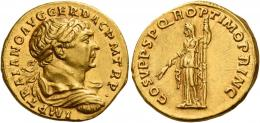 47  -  TRAJAN AUGUSTUS. Aureus. AV 7.33 g. IMP TRAIANO AVG GER DAC P M TR P Laureate, draped and cuirassed bust r. Rev. COS V P P S P Q R OPTIMO PRINC Ceres standing l. holding corn ears and sceptre. Perfectly centred on a full flan and extremely fine.