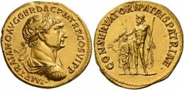 48  -  TRAJAN AUGUSTUS. Aureus. AV 7.23 g. IMP TRAIANO AVG GER DAC P M TR P COS VI P P Laureate, draped and cuirassed bust r. Rev. CONSERVATORI PATRIS PATRIAE Jupiter standing l., holding sceptre in l. hand and thunderbolt in extended r. over the head of small figure of Trajan standing l., holding branch in extended r. hand and short sceptre in l. C 46 var. (not cuirassed). Very rare. Minor marks on edge and obverse field, otherwise good extremely fine.