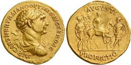 49  -  TRAJAN AUGUSTUS. Aureus.  AV 7.27 g. IMP CAES NER TRAIANO OPTIMO AVG GER DAC Laureate, draped and cuirassed bust r. Rev. AVGVSTI – PROFECTIO Emperor on horse prancing r., holding spear; in r. field, soldier advancing r., head l., holding spear and shield. Behind, three soldiers advancing r. C 41 var. (not cuirassed). Extremely rare, apparently only the sixth specimen known. Struck on a very broad flan and good very fine / about extremely fine.