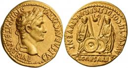 5  -  OCTAVIAN AS AUGUSTUS. Aureus.  AV 7.70 g. CAESAR AVGVSTVS – DIVI F PATER PATRIAE Laureate head r. Rev. AVGVSTI F COS DESIG PRINC IVVENT Caius and Lucius standing facing, each togate and resting hand on shield; behind each shield, a spear. Above on l., lituus to r. and, on r., simpulum to l. In exergue, CL CAESARES. Well struck and centred on a large flan. Extremely fine.