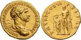 50  -  TRAJAN AUGUSTUS. Aureus. AV 7.24 g. IMP CAES NER TRAIANO OPTIMO AVG GER DAC Laureate, draped and cuirassed bust r. Rev. P M TR P COS VI P P S P Q R Jupiter standing l., holding a long sceptre in l. hand and a thunderbolt in r. over a smaller figure of Trajan, togate, standing l. holding a branch in r. hand and a small sceptre in l. C 268 var. (not cuirassed). Extremely fine.