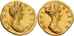 51  -  PLOTINA. Aureus. AV 7.24 g. PLOTI – NAE AVG Draped bust of Plotina r., wearing double metal stephane. Rev. MATIDI – AE AVG Diademed and draped bust of Matidia. Extremely rare and among the finest specimens known. Two extraordinary portraits of excellent style perfectly struck in high relief. Extremely fine.