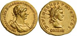 52  -  HADRIAN AUGUSTUS. Aureus. AV 7.35 g. IMP CAES TRAIAN HADRIANO AVG DIVI TRA PARTH F Laureate, draped and cuirassed bust r. Rev. DIVI NER NEP·P M TR·P·COS· Radiate bust of Sol r.; below, ORIENS. Rare and in exceptional condition for the issue. Two portraits of fine style struck in high relief on a full flan. Good extremely fine.