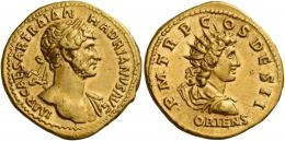 53  -  HADRIAN AUGUSTUS. Aureus. AV 7.25 g. IMP CAESAR TRAIAN – HADRIANVS AVG Laureate and draped bust r. seen from front, fold of cloak on l. shoulder and sword belt around neck and across breast. Rev. P M TR P C – OS DES II Radiate and draped bust of Sol r.; below, ORIENS. Rare. Struck on a large flan and complete, minor marks on reverse, otherwise about extremely fine.