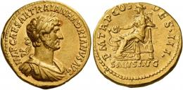 54  -  HADRIAN AUGUSTUS. Aureus. AV 7.14 g. IMP CAESAR TRAIAN HADRIANVS AVG Laureate, draped, and cuirassed bust r. Rev. P M TR P COS – DES III Salus seated l. on throne, feet on footstool, feeding out of patera serpent coiled around altar and leaning l. arm on throne. In exergue, SALVS AVG. A lovely portrait of fine style struck in high relief. Pincer marks on edge at ten oclock on obverse and seven oclock on reverse, otherwise about extremely fine