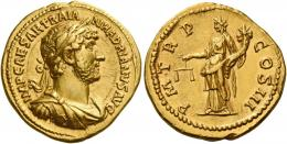 55  -  HADRIAN AUGUSTUS. Aureus. AV 7.15 g. IMP CAESAR TRAIA – N HADRIANVS AVG Laureate, draped and cuirassed bust r. Rev. P M TR P – COS III Aequitas standing l., holding scales and cornucopia. C 1117. BMC 151 var (different bust).Rare. A magnificent portrait of superb style struck in high relief, an unobtrusive edge nick at six oclock on reverse, otherwise good extremely fine.