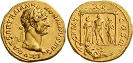 56  -  HADRIAN AUGUSTUS. Aureus. AV 7.11 g. IMP CAESAR TRAIAN H – ADRIANVS AVG Laureate head r. Rev. P M T – R P – COS III Hercules standing facing in distyle temple, head r., resting on club and holding apples (?); flanked by two female figures (Hesperides?); below temple, river god (Baetis?) reclining r. Behind in l. field, prow. Very rare and in unusually fine condition for this very difficult issue, among the finest specimens in private hands. An interesting reverse composition and a pleasant portrait  struck on a full flan. Extremely fine