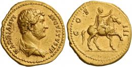 58  -  HADRIAN AUGUSTUS. Aureus.  AV 7.37 g. HADRIANVS – AVGVSTVS P P Bare-headed and draped bust r. Rev. COS – III Hadrian on horse pacing r., raising r. hand. A bold portrait, several minor marks, otherwise good very fine.
