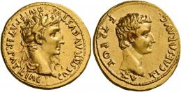6  -  TIBERIUS AUGUSTUS. Aureus. AV 7.75 g. CAESAR AVGVSTVS – DIVI F PATER PATRIAE Laureate head of Augustus r. Rev. TI CAESAR AVG – F TR POT – XV Bare head of Tiberius r.Extremely rare, among the finest specimens in private hands of this difficult issue. Two bold portraits struck on a very large flan, a minor bankers mark on obverse and minor marks on reverse, otherwise extremely fine.