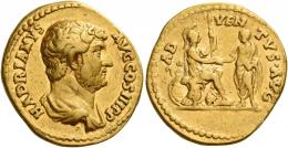 60  -  HADRIAN AUGUSTUS. Aureus. AV 7.39 g. HADRIANVS – AVG COS III P P Bare-headed and draped bust r. Rev. AD – VEN – TVS AVG Roma, in military attire, seated r. on cuirass, l. foot on helmet, holding spear in l. hand and clasping r. hands with emperor, togate, who stands l., facing her; in l. field, round and oval shield. Rare. Good very fine / very fine.