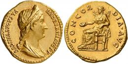 62  -  SABINA. Aureus. AV 7.05 g. SABINA AVGVSTA – HADRIANI AVG P P Draped bust r., hair in stephane and in long tail at back. Rev. CONCOR – DIA AVG Concordia seated l., holding patera and leaning l. elbow on statue of Spes. Very rare and in exceptional condition for the issue. A magnificent portrait of masterly style struck in high relief, good extremely fine.