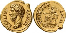 63  -  AELIUS CAESAR. Aureus. , AV 7.43 g. L AELIVS – CAESAR Bare-headed and draped bust l. Rev. TRIB POT – COS II Concordia seated l., holding patera and resting l. elbow on cornucopia; in exergue, CONCORD. An exceedingly rare variety with the drapery on the l. shoulder of a rare type. A portrait of excellent style struck on a broad flan. Virtually as struck and almost Fdc.