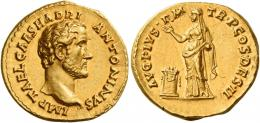 64  -  ANTONINUS PIUS AUGUSTUS. Aureus.AV 7.41 g. IMP T AEL CAES HADRI – ANTONINVS Bare head r. Rev. AVG PIVS P M – TR P COS DES II Pietas standing l., holding incense box and raising r. hand over garlanded and lighted altar. A spectacular portrait of excellent style. Virtually as struck and almost Fdc.