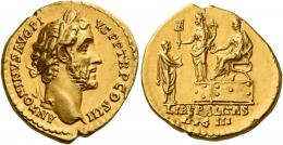 66  -  ANTONINUS PIUS AUGUSTUS. Aureus. AV 7.22 g. ANTONINVS AVG PI –VS P P TR P COS III Laureate head r. Rev. Antoninus seated l. on platform extending r. hand and holding scroll in l.; before him Liberalitas standing l., holding abacus and cornucopia; in front, citizen with outstretched hands. In exergue, LIBERALITAS / AVG III. An apparently unrecorded variety of a very rare type. A minor edge nick and almost invisible marks, otherwise good extremely fine.