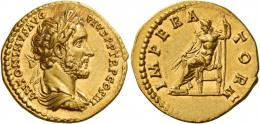 67  -  ANTONINUS PIUS AUGUSTUS. Aureus. AV 6.87 g. ANTONINVS AVG – PIVS P P TR P COS III Laureate, draped and cuirassed bust r. Rev. IMPERA – TOR II Jupiter seated l., holding thunderbolt and sceptre. Extremely rare. Virtually as struck and Fdc.