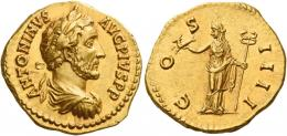 68  -  ANTONINUS PIUS AUGUSTUS. Aureus. AV 7.20 g. ANTONINVS – AVG PIVS P P Laureate, draped and cuirassed bust r. Rev. CO – S – IIII Felicitas standing l., holding capricorn in r. hand and long caduceus in l. Virtually as struck and almost Fdc.