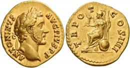 69  -  ANTONINUS PIUS AUGUSTUS. Aureus.  AV 7.49 g. ANTONINVS – AVG PIVS P P Laureate head r. Rev. TR PO – T – COS IIII Roma seated l. on a shield, holding Victory and spear. Minor marks on reverse, otherwise about extremely fine.