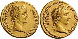 7  -  TIBERIUS AUGUSTUS. Aureus. AV 7.82 g. TI CAESAR DIVI – AVG F AVGVSTVS Laureate head of Tiberius r. Rev. DIVOS AVGVST – DIVI F Bare head of Augustus r., above, six-pointed star. Very rare and undoubtedly among the finest specimens known. Two gentle portraits of fine style struck well on a full flan, an almost invisible mark on obverse field, otherwise extremely fine.