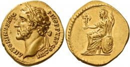 70  -  ANTONINUS PIUS AUGUSTUS. Aureus.  AV 7.26 g. ANTONINVS AVG – PIVS P P TR P COS IIII Laureate head l. Rev. Roma seated left holding palladium and spear; at side, shield. Almost invisible marks on obverse, otherwise about extremely fine / extremely fine.