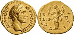 72  -  ANTONINUS PIUS AUGUSTUS. Aureus. AV 7.30 g. ANTONINVS – AVG PIVS P P TR P XI Laureate bust r., with drapery on l. shoulder. Rev. CO – S – I – I – II Liberalitas standing l., holding abacus in r. hand and cornucopia in l.; at sides on field, LIB – V. About extremely fine / good very fine.