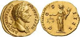 73  -  ANTONINUS PIUS AUGUSTUS. Aureus.  AV 7.17 g. ANTONINVS AVG – PIVS P P TR P XII Laureate bust r., with aegis. Rev. C – OS – IIII Aequitas standing l., holding scales and cornucopia. Struck on a broad flan, almost invisible marks, otherwise good extremely fine.