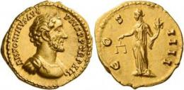 74  -  ANTONINUS PIUS AUGUSTUS. Aureus. AV 7.25 g. ANTONINVS AVG – PIVS P P TR P XII Bare-headed and cuirassed bust r. Rev. C – OS – IIII Aequitas standing l., holding scales and cornucopia. A very unusual and pleasant portrait struck in high relief, good extremely fine.