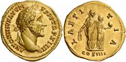 75  -  ANTONINUS PIUS AUGUSTUS. Aureus. AV 7.17 g. ANTONINVS AVG PI – VS P P TR P XIIII Laureate head r., with drapery on l. shoulder. Rev. LAETI – TIA Ceres standing r., holding corn-ears and beside her, Proserpina standing facing, head l. holding pomegranate; in exergue, COS IIII. Rare and in an extraordinary state of preservation. A perfect Fdc.