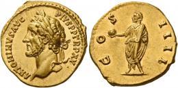 76  -  ANTONINUS PIUS AUGUSTUS. Aureus.  AV 7.18 g. ANTONINVS AVG – PIVS P P TR P XV Laureate head l. Rev. CO – S – IIII Antoninus, togate, standing l., holding globe in extended r. hand and scroll in l.  Virtually as struck and almost Fdc.