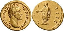 78  -  ANTONINUS PIUS AUGUSTUS. Aureus. AV 7.11 g. ANTONINVS AVG – PIVS P P TR P XVI Bare head r. Rev. CO – S – IIII Antoninus, togate, standing l., holding globe in extended r. hand and scroll in l. Good very fine.