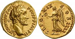 79  -  ANTONINUS PIUS AUGUSTUS. Aureus.  AV 7.34 g. ANTONINVS AVG – PIVS P P IMP II Laureate head r. Rev. TR POT XIX – C – OS IIII Victory advancing l., holding wreath and palm branch. A magnificent portrait struck in high relief, an almost invisible mark on the eyebrow, otherwise virtually as struck and almost Fdc.