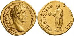 80  -  ANTONINUS PIUS AUGUSTUS. Aureus. AV 7.34 g. ANTONINVS AVG – PIVS P P IMP II Laureate head r. Rev. TR POT XIX – C[O]S IIII Antoninus, togate, standing l., holding globe in r. hand and scroll in l. Good very fine.