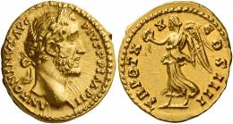 81  -  ANTONINUS PIUS AUGUSTUS. Aureus. AV 7.23 g. ANTONINVS AVG – PIVS P P IMP II Laureate head r. Rev. TR POT X – X – COS IIII Victory advancing l., holding wreath in r. hand and palm branch in l. Several minor marks, otherwise good extremely fine.