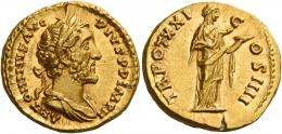 82  -  ANTONINUS PIUS AUGUSTUS. Aureus. AV 7.36 g. ANTONINVS AVG – PIVS P P IMP II Laureate and draped bust r. Rev. TR POT XXI – C – OS IIII Salus standing r., feeding snake, held in her arms, out of patera. Rare. An unobtrusive flan crack at twelve oclock on obverse, otherwise virtually as struck and almost Fdc.