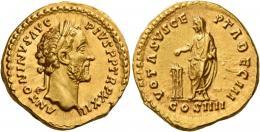 83  -  ANTONINUS PIUS AUGUSTUS. Aureus.   AV 7.27 g. ANTONINVS AVG – PIVS P P TR P XXII Laureate head r. Rev. VOTA SVSCE – PTA DEC III Antoninus, veiled, standing l. and sacrificing over tripod; in exergue COS IIII. Virtually as struck and almost Fdc.