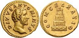 85  -  ANTONINUS PIUS AUGUSTUS. Aureus.  AV 7.27 g. DIVVS – ANTONINVS Bare head r. Rev. CONSECRATIO Decorated and garlanded pyre of four tiers surmounted by quadriga. Rare. About extremely fine.