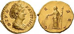 89  -  DIVA FAUSTINA. Aureus. AV 7.27 g. DIVA – FAVSTINA Draped bust r., hair waved and coiled on top of head. Rev. CE – RES Ceres, standing l., holding two grain ears and torch. Virtually as struck and almost Fdc.