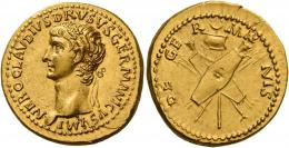 9  -  NERO CLAUDIUS DRUSUS. Aureus. AV 7.81 g. NERO CLAVDIVS DRVSVS GERMANICVS IMP Laureate head l. Rev. DE – GE – R – MA – NIS Vexillum between two crossed oblong shields, and two pairs of spears and trumpets crossed. Very rare and in exceptional condition for the issue.A portrait of magnificent style perfectly struck and centred on a very broad flan. Virtually as struck and almost Fdc.