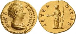 90  -  DIVA FAUSTINA. Aureus. AV 7.31 g. DIVA – FAVSTINA Draped bust r., hair waved and coiled on top of head. Rev. AETER – NITAS Fortuna standing l., holding patera in r. hand and rudder on globe in l. Good extremely fine.