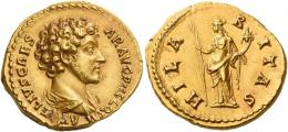 94  -  MARCUS AURELIUS CAESAR. Aureus.  AV 7.32 g. A[VR]ELIVS CAES – AR AVG P II F COS II Bare-headed and draped bust r. Rev. HILA – R – ITAS Hilaritas standing l., holding long palm branch and cornucopia. An extremely rare variety. A portrait of excellent style struck on a very large flan and a lovely light reddish tone. Two almost invisible marks on obverse, otherwise good extremely fine.