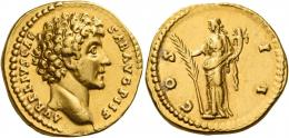 95  -  MARCUS AURELIUS CAESAR. Aureus. AV 7.32 g. AVRELIVS CAE – SAR AVG PII F Bare head r. Rev. COS – II Hilaritas standing l., holding long palm branch in r. hand and cornucopia in l. C 106. Several edge marks, possible traces of mounting, otherwise good very fine