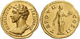 96  -  MARCUS AURELIUS CAESAR. Aureus. AV 7. 33 g. AVRELIVS CAE– SAR AVG P II F Bare-headed, draped and cuirassed bust l. Rev. TR POT II – COS II Fides standing r., holding corn ears in r. hand and basket of fruit in upraised l.  Very rare. A wonderful and unusual portrait of excellent style struck in high relief. Virtually as struck and almost Fdc