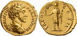 97  -  MARCUS AURELIUS CAESAR. Aureus.  AV 7.09 g. AVRELIVS CAE – SAR AVG P II FIL Bare-headed, draped, and cuirassed bust r. Rev. TR POT – VIII – COS II Roma, helmeted, in military attire, standing l., holding Victory on extended r. hand and parazonium in l. A lovely portrait of fine style. Trace of edge filing at three oclock on obverse, otherwise good extremely fine
